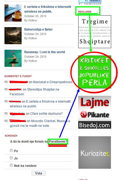 parathenie.com dhe kritiket e shkolles PERLA Vlore